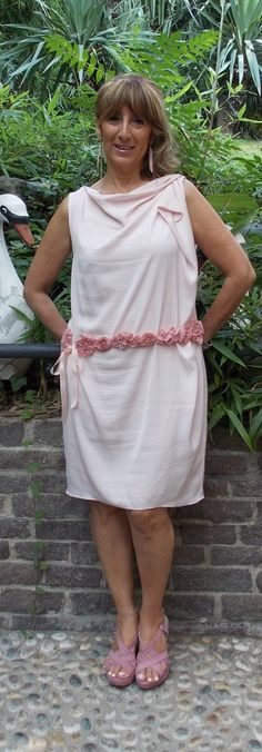 2013-Rosa antico al matrimonio di Silvia e Luca, la cintura è fatta da me