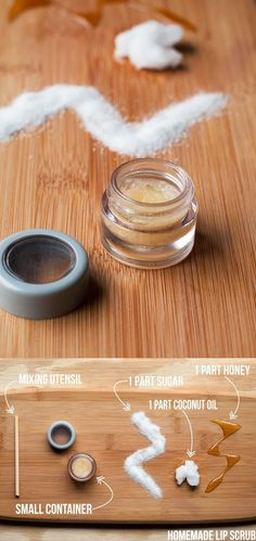 HOMEMADE LIP SCRUB Sugar, honey, coconut. The honey and coconut oil are a very…