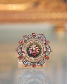 Lovely Micro Mosaic and silver brooch depicting flowers, 19th century from akaham on Ruby Lane