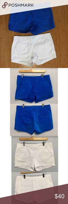 Two Pairs of J.Crew Chinos Shorts Excellent condition, barely used. I'm selling both the white and blue shorts in this bundle. Fit is great, this is a quality product. J. Crew Shorts
