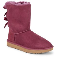 UGG Bailey Bow II Shearling Boots ($120) ❤ liked on Polyvore featuring shoes, boots, bow boots, ugg boots, ribbon boots, sheep fur boots and burgundy shoes