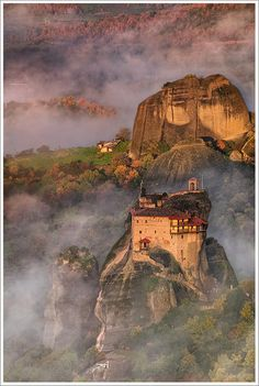 Fog, Meteora, Greece  photo via landscape