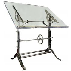 Restored cast iron and acrylic drafting table (circa 1910).