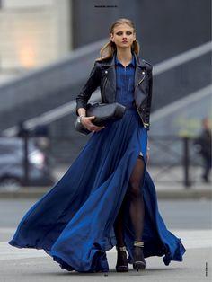 moto jkt. and maxi dress  love the color  very hip  sadee says