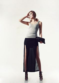 hot sale New Fashion long Maxi Skirt for Women Korean Double slit Individual chiffon ankle-length skirts black free size Long Chiffon Skirt, Pleated Mini Skirt, Mini Skirts, Maxi Skirts For Women, Long Maxi Skirts, Ankle Length Skirt, Sexy Skirt, Casual Outfits, Casual Clothes