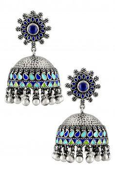 Silver Oxidised Floral Lapis Blue Enamel Paisley Jhumka