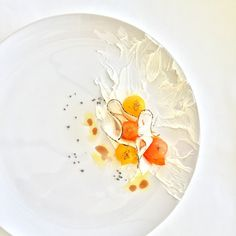 Blanched heirloom tomatoes and charred white radish served with heirloom tomato oil, raspberry basalm, creme cheese and black hawaiian rock salt by royalebrat on instagram #plating