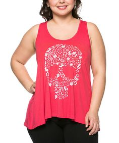 Look at this Coral Floral-Skull Racerback Tank - Plus on #zulily today!