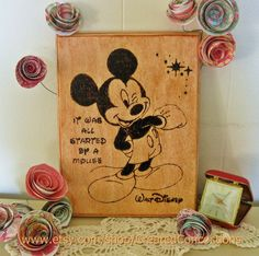 This wood sign would be super cute in an office or a Disney-themed nursery! MICKEY MOUSE It Was All Started By A Mouse.  by CreatedConcoctions