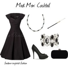 """Mad Men Inspired Cocktail Outfit"" by fandom-inspired-fashion on Polyvore. This is a simple, elegant cocktail party outfit with a general Mad Men early 60's theme. It includes a retro style dress and heels, pearls in both the necklace and bracelet, a cigarette holder and black clutch."