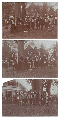 William F. Cody and Show Indians Laying a Wreath at the Uncas Memorial in Norwich, Connecticut