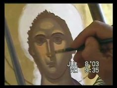 Watch as master iconographer Daniel Neculae writes an icon of the Archangel Gabriel in egg tempera for an iconography course in Raleigh, North Carolina in Ju. Paint Icon, Archangel Gabriel, Byzantine Art, Painting Videos, Sacred Art, Painting Techniques, Madonna, Youtube, Techno