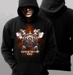 Mens Orc printed hoodie World of Warcraft games plus size