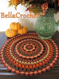 Crochet Diy Crochet Mandala Free Pattern More - You will love our post that includes a lovely DIY Crochet Mandala Rug. You will find lots of artistic crochet mandala rugs and free patterns too. Motif Mandala Crochet, Mandala Rug, Crochet Doily Patterns, Crochet Designs, Crochet Doilies, Crochet Gratis, Crochet Diy, Crochet Fall, Crochet Home