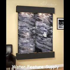 Majestic River with Rustic Copper Frame and Black Spider Marble - Wall Accent Home Decor Indoor Wall Fountains, Indoor Fountain, Water Fountains, Small Fountains, Waterfall Fountain, Wall Waterfall, Waterfall Features, Tabletop Fountain, Copper Frame
