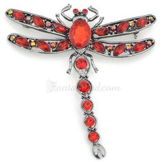 Vintage Ruby Dragonfly Pin