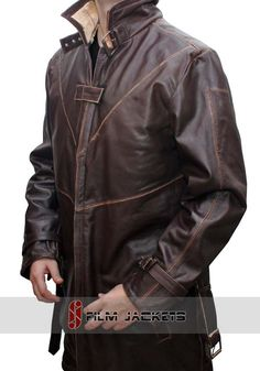 Brown distressed watch dogs coat