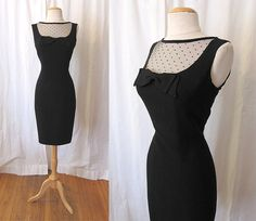 Flirty 1950's Little Black Cocktail Wiggle Dress w/ Polka Dot Tulle Rockabilly VLV Pinup Hourglass Curvy Vixen Size-Medium-Large