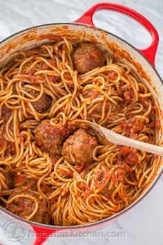 The Best Spaghetti & Meatballs!! Here's the secret to making meatballs uber juicy & tasty! @natashaskitchen