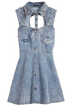 Vestido denim aplique beads espalda abierta-Azul pictures