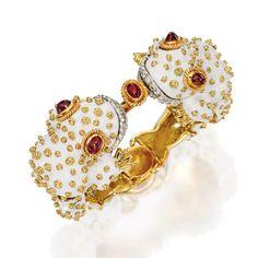 An 18 Karat Gold, Platinum, Ruby, Diamond and Enamel Frog Bracelet-Watch, David Webb, Circa 1960