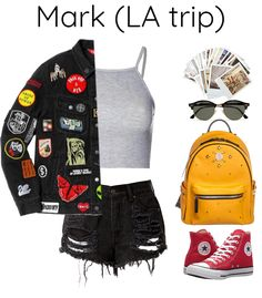 Kpop Outfits/Lockscreens — Mark LA trip Thank you so much. Korean Fashion Kpop Inspired Outfits, Cute Korean Fashion, Bts Inspired Outfits, Kpop Fashion Outfits, Korea Fashion, Teen Fashion, Cute Skirt Outfits, Cute Casual Outfits, Retro Outfits