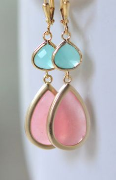 Coral Pink and Aqua Bridemaid Earrings in Gold
