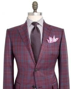 Image of Ermenegildo Zegna Red and Blue Tartan Plaid Sportcoat