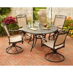 Hampton Bay Cedarvale 5Piece Patio Dining Set with Nutmeg Cushions