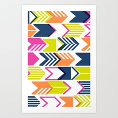Tribal Arrows (Navy) Art Print by penny candy - $14.00