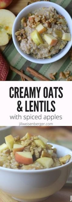 Creamy Oats and Lentils with Sweetly Spiced Apples -- A healthy #breakfast recipe filled with #fiber and #protein, and topped with cinnamon-spiced apples. A satisfying way to start the morning! | #diabetes | #hearthealthy | #legumes | #lentils | @nutritionjill | https://jillweisenberger.com/creamy-sweet-oats-lentils-healthy-breakfast/