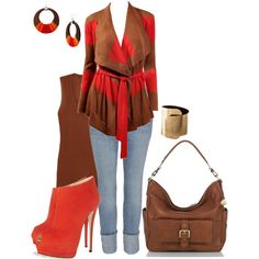 brown and orange, created by johnna-cameron on Polyvore