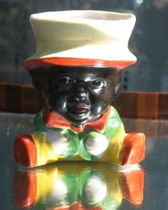 Antique Bisque : A rare novelty 19th C. Blackamoor Figure / Duck Egg Cup