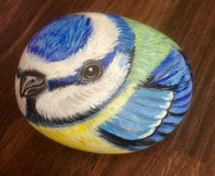Hand painted rock bluetit by Cobblecreatures on Etsy, £10.00