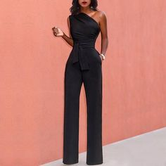skyfely Formal Jumpsuit, Wedding Jumpsuit, Schwarzer Overall Outfit, Elegante Jumpsuits, Black Jumpsuit Outfit, Sleeveless Outfit, Chiffon Maxi Dress, Elegant Outfit, Classy Outfits