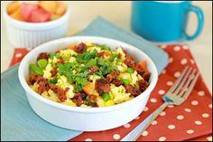 Fast Protein-Packed Breakfast Recipes, Soy Chorizo Scramble, Veggie Breakfast Sandwich | Hungry Girl