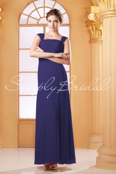 #85147 - Floor-Length Chiffon Dress with Capsleeves - Bridesmaid Dress - Simply Bridal