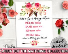 Bohemian Flowers Bridal Shower Bloody Mary Bar Sign in Pink And Red, good time sign, most popular, party decorations, party decor - 06D7T #bridalshower #bride-to-be #bridetobe