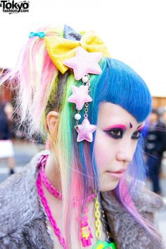 Vani's colorful (blue, pink, green and yellow) hair with bows and stars