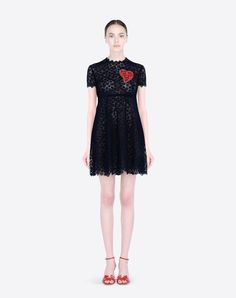 Valentino...Lace,Round collar,Hook-and-bar, zip,Two front pockets,Long sleeves,