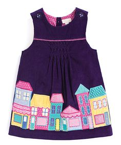 Look at this JoJo Maman Bébé Purple & Pink House Pinafore Dress - Infant, Toddler & Girls on #zulily today!