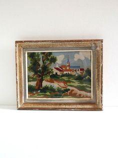 Tableau canevas vintage paysage de campagne