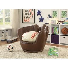 "Never miss a pop fly with this baseball mitt chair—now at RC Willey! Your sports fan will love its whimsical detailing and eye-catching design. And its plush padding brings a whole new meaning to inning stretch""! Baseball Chair, Baseball Nursery, Baseball Furniture, Baseball Room Decor, Room Themes, Boy Room, Child Room, Bedroom Ideas, Kids Bedroom"