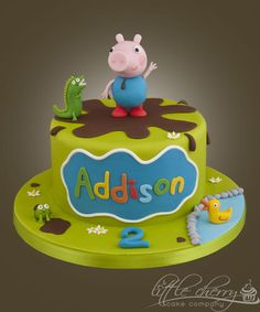 George Pig Cake by Little Cherry Cake Company Bolo George Pig, Peppa Pig Y George, George Pig Party, Cupcakes, Cupcake Cakes, Pig Cakes, Tortas Peppa Pig, Cake Pops, Peppa Pig Birthday Cake