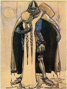 """""""Han som kunde rida i alla väder"""" av Helena Nyblom. Från """" Bland Tomtar och Troll"""" 1907. 0183 - Jolantha slog armarna om honom Ser ut att vara inspirerad av """"athe black prince"""", den verkliga medeltida riddaren."""