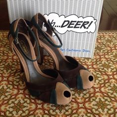 Oh...Deer Chocolate Suede Peep Toe Platform Pumps Manmade sole Platform measures approzimately 1 inch Heel measures approximately 4  inches Brand: oh...Deer! Color: Chocolate Suede Size: 6 - 10 Check with me prior to purchasing to make sure your size is available  Condition: New in original box, unworn Oh...Deer! Shoes Heels