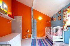 Chambre enfant orange et bleue