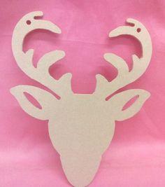 2x 4mm MDF 200mm  Stag Head craft Shaps , plaque, Tag