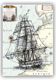 Nautical art frigate antique Europe map print poster vintage modern collage gift for him map art wall decor, ships arts