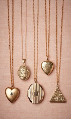 Honestly WTF – A daily dose of fashion discoveries and inspirations, contributed by a stylist and a designer who both see the world through rose-colored shades. Cute Jewelry, Wedding Jewelry, Jewelry Accessories, Bridal Accessories, Gold Locket, Heart Locket, Locket Necklace, Gold Necklace, Antique Jewelry